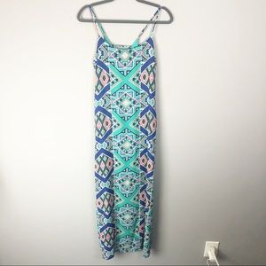Everly | Turquoise Geometric Print Maxi Dress